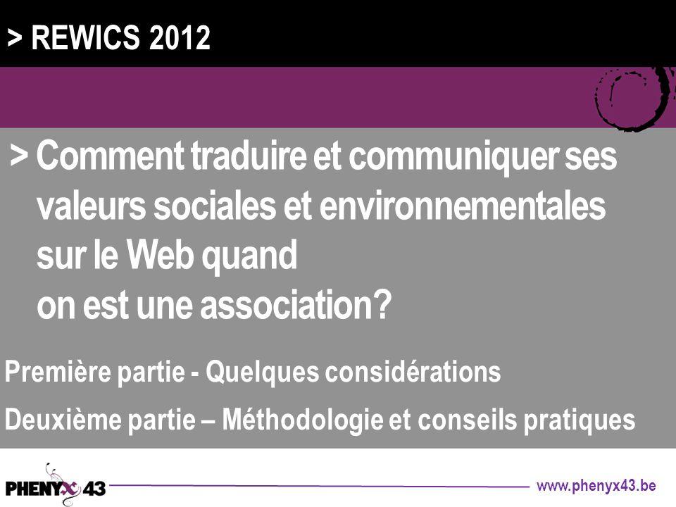 > REWICS 2012 > Comment traduire et communiquer ses valeurs sociales et environnementales sur le Web quand.