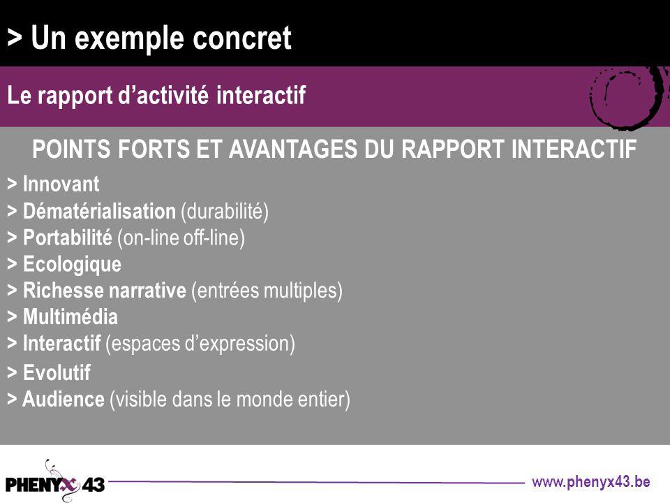 Points forts et avantages du rapport interactif