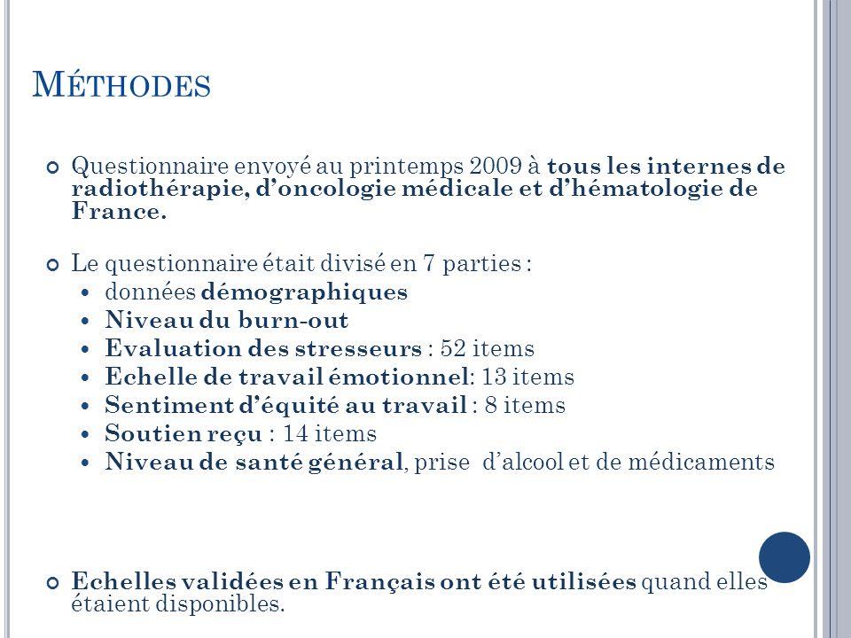 Méthodes Questionnaire envoyé au printemps 2009 à tous les internes de radiothérapie, d'oncologie médicale et d'hématologie de France.