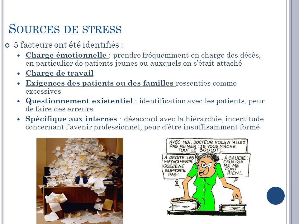 Sources de stress 5 facteurs ont été identifiés :