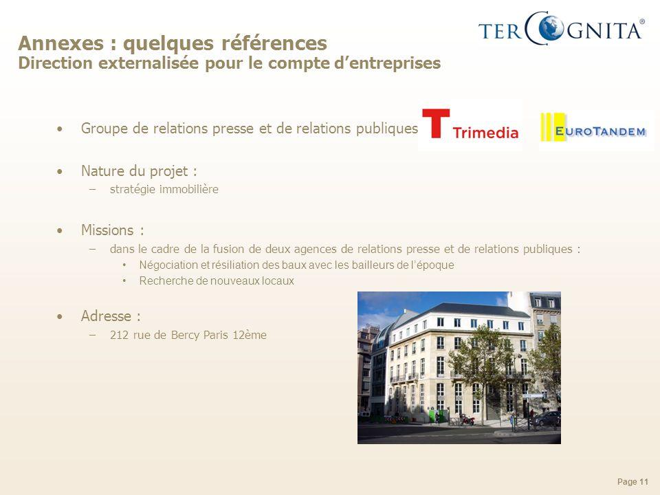 Annexes : quelques références Direction externalisée pour le compte d'entreprises
