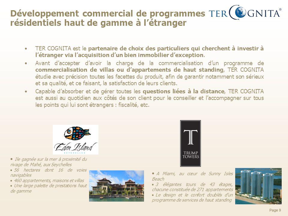 Développement commercial de programmes résidentiels haut de gamme à l'étranger