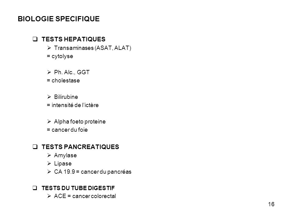 BIOLOGIE SPECIFIQUE TESTS HEPATIQUES TESTS PANCREATIQUES