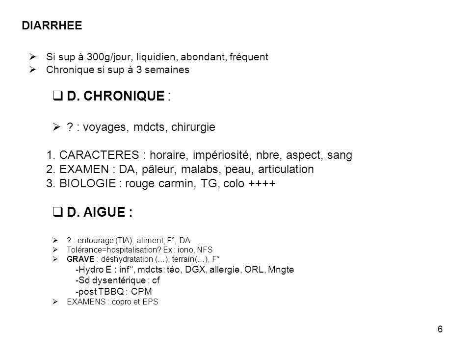 D. CHRONIQUE : D. AIGUE : DIARRHEE : voyages, mdcts, chirurgie