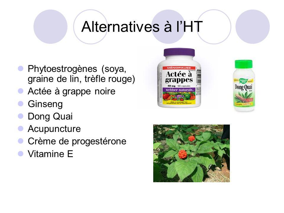 Alternatives à l'HT Phytoestrogènes (soya, graine de lin, trèfle rouge) Actée à grappe noire. Ginseng.