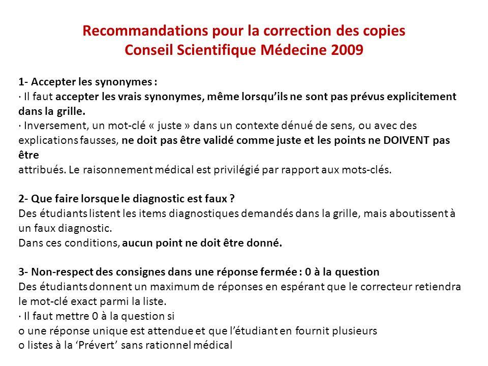 Recommandations pour la correction des copies