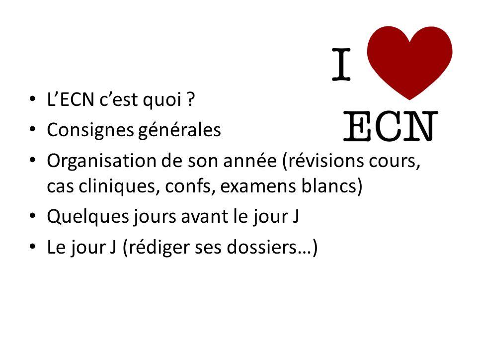 L'ECN c'est quoi Consignes générales. Organisation de son année (révisions cours, cas cliniques, confs, examens blancs)