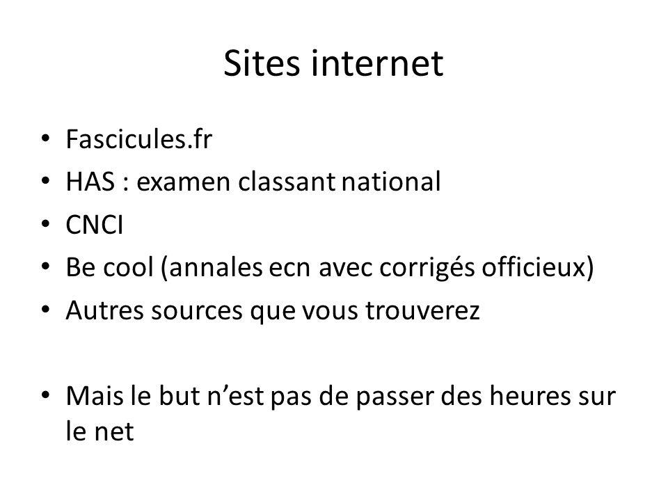 Sites internet Fascicules.fr HAS : examen classant national CNCI