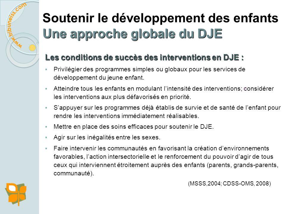 Soutenir le développement des enfants Une approche globale du DJE