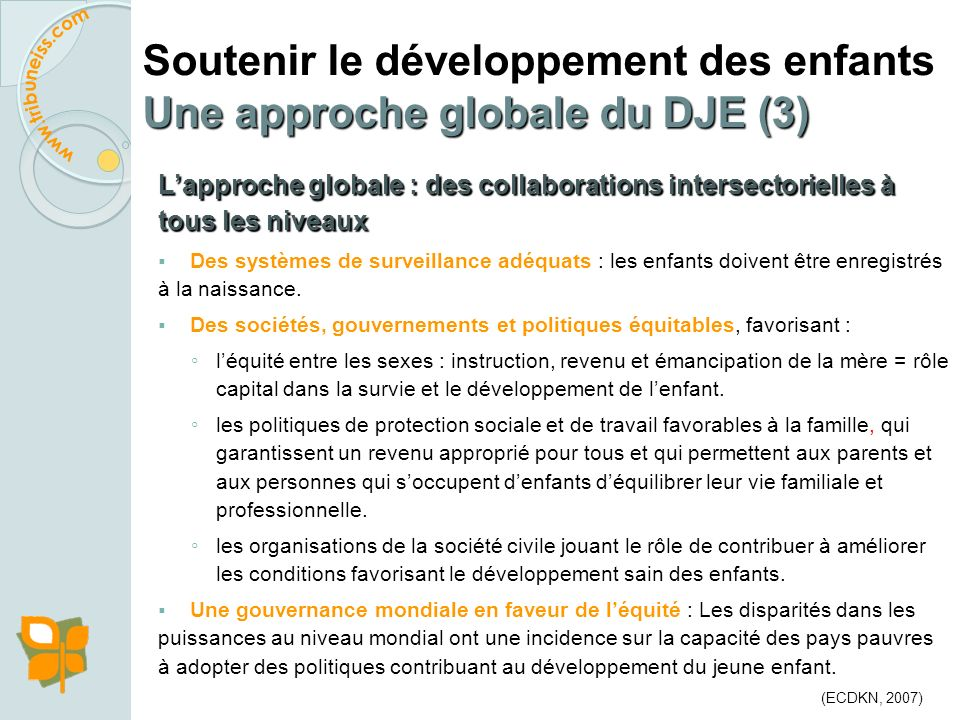 Soutenir le développement des enfants Une approche globale du DJE (3)