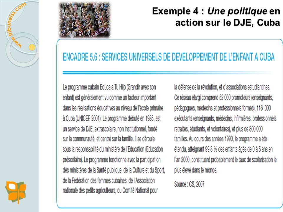 Exemple 4 : Une politique en action sur le DJE, Cuba