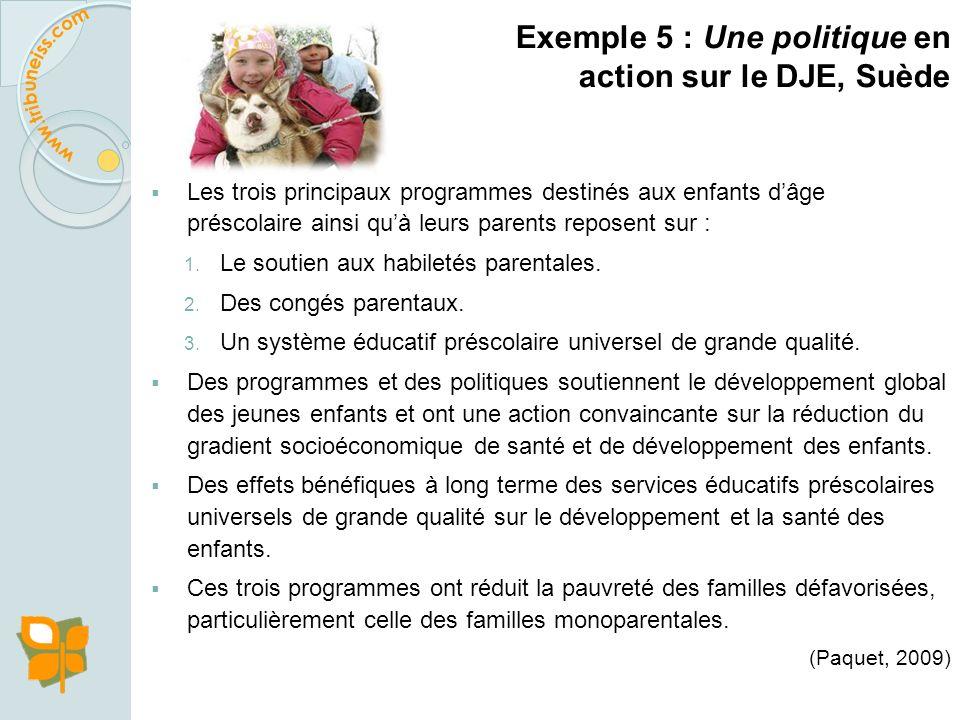 Exemple 5 : Une politique en action sur le DJE, Suède