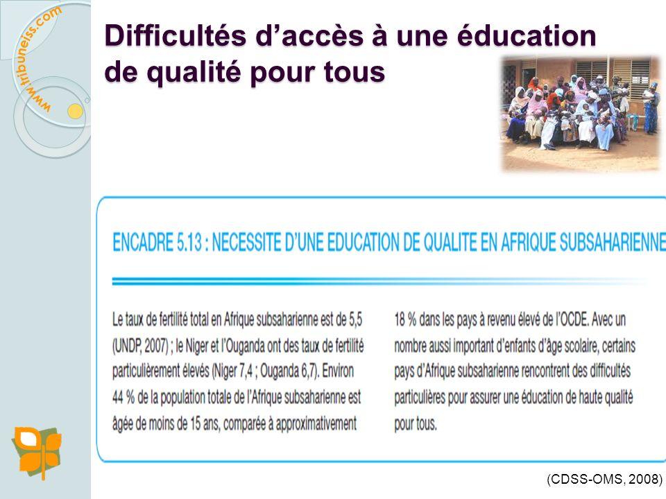 Difficultés d'accès à une éducation de qualité pour tous