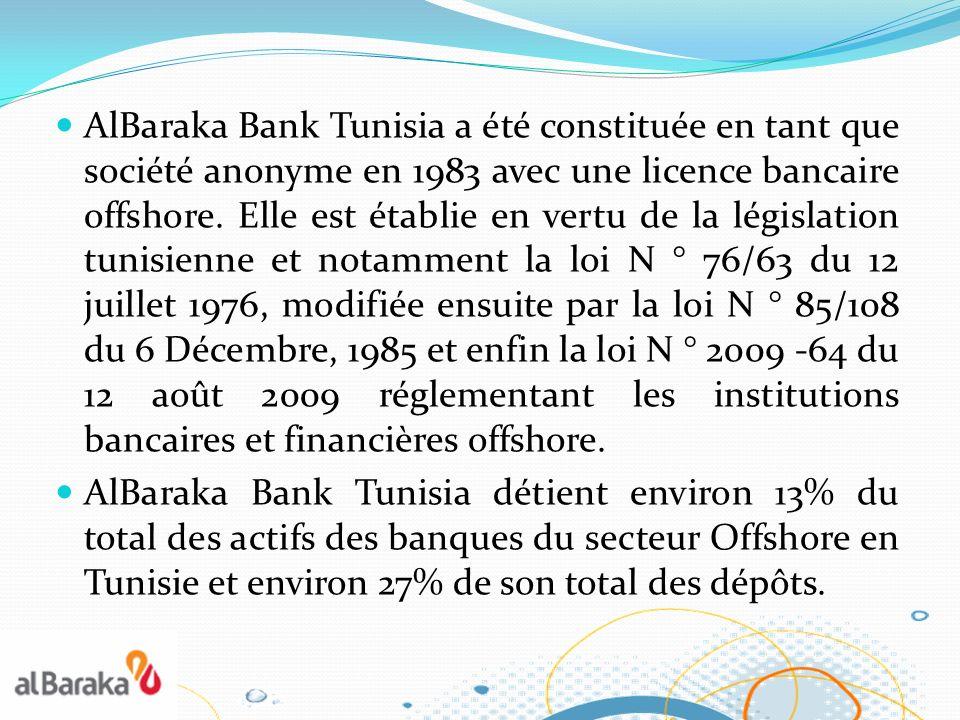 AlBaraka Bank Tunisia a été constituée en tant que société anonyme en 1983 avec une licence bancaire offshore. Elle est établie en vertu de la législation tunisienne et notamment la loi N ° 76/63 du 12 juillet 1976, modifiée ensuite par la loi N ° 85/108 du 6 Décembre, 1985 et enfin la loi N ° 2009 -64 du 12 août 2009 réglementant les institutions bancaires et financières offshore.