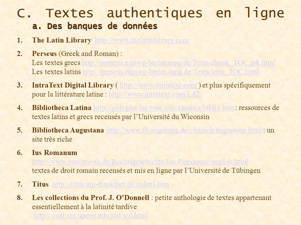 C. Textes authentiques en ligne a. Des banques de données