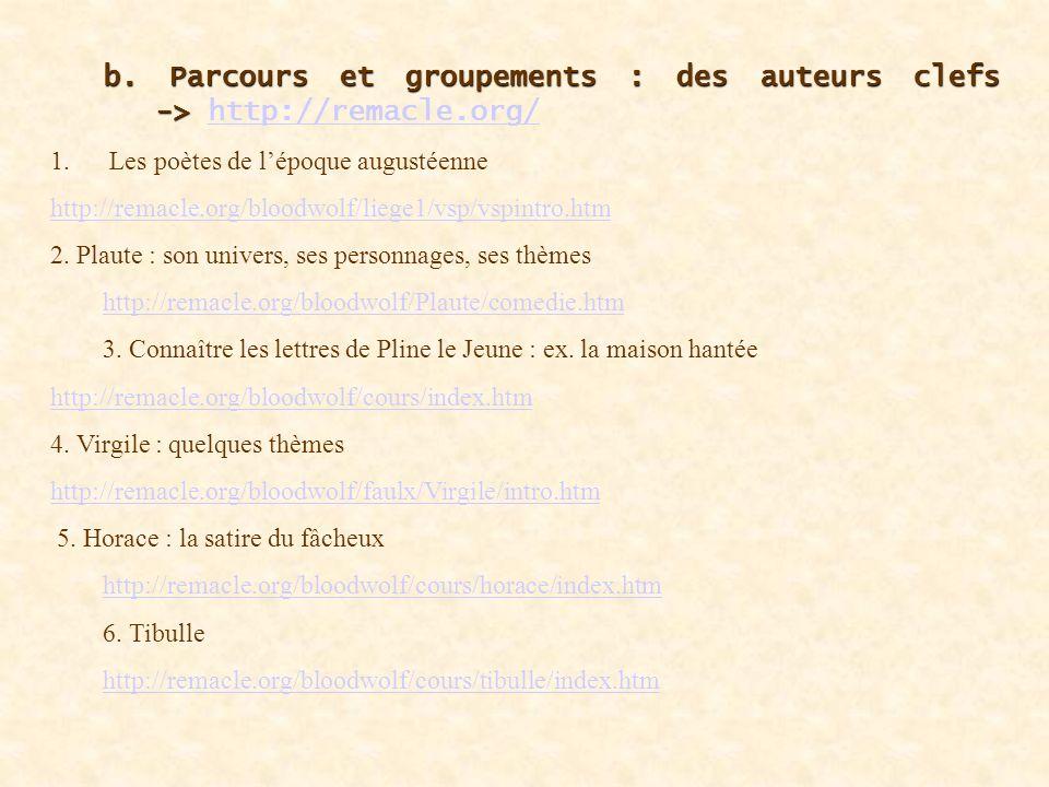 b. Parcours et groupements : des auteurs clefs. -> http://remacle