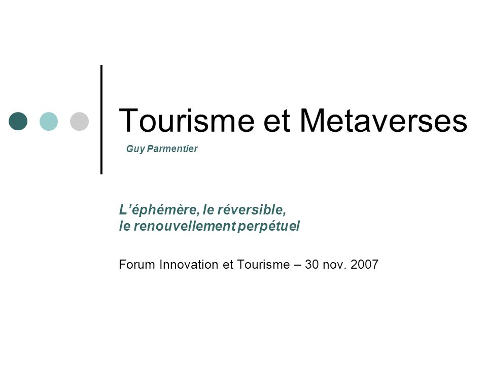 Tourisme et Metaverses