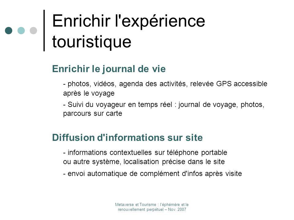 Enrichir l expérience touristique