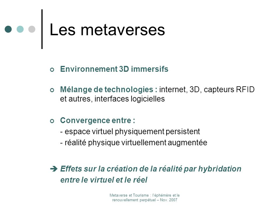Les metaverses Environnement 3D immersifs