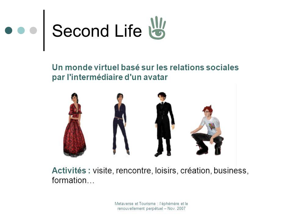 Second LifeUn monde virtuel basé sur les relations sociales par l intermédiaire d un avatar.
