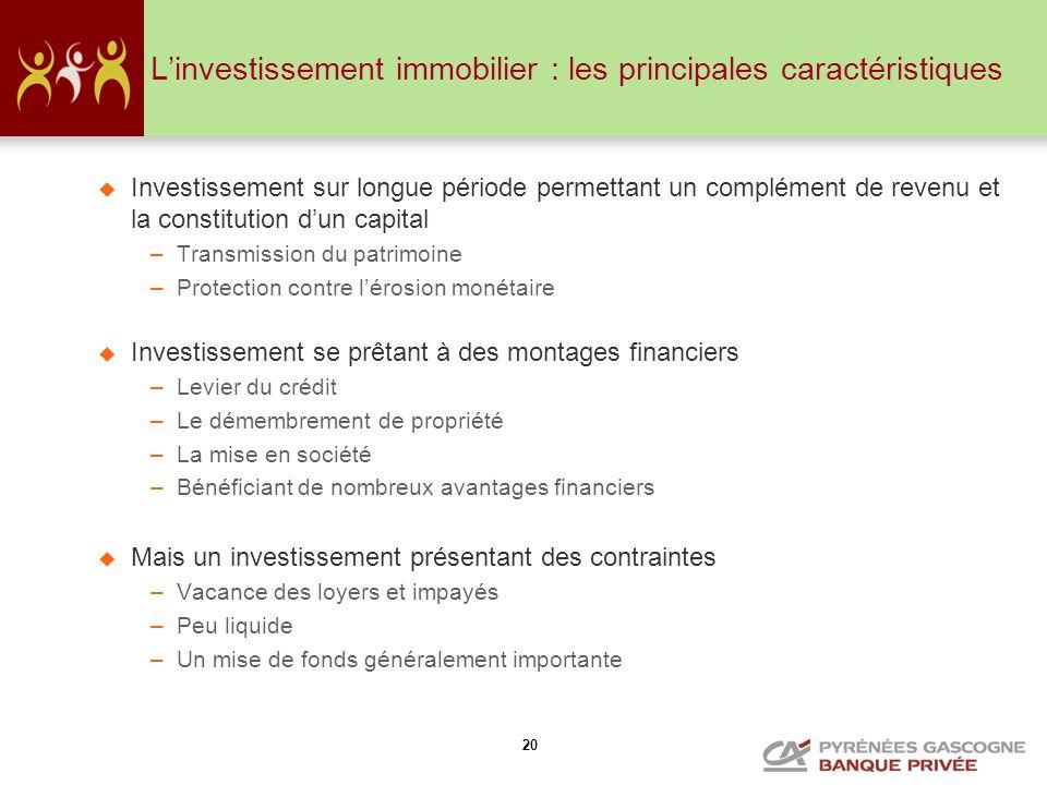 L'investissement immobilier : les principales caractéristiques