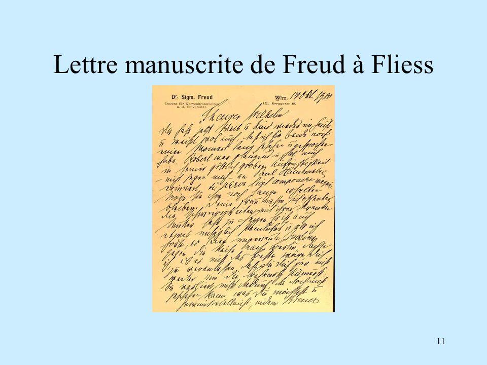 Lettre manuscrite de Freud à Fliess