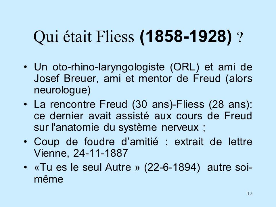 Qui était Fliess (1858-1928) Un oto-rhino-laryngologiste (ORL) et ami de Josef Breuer, ami et mentor de Freud (alors neurologue)