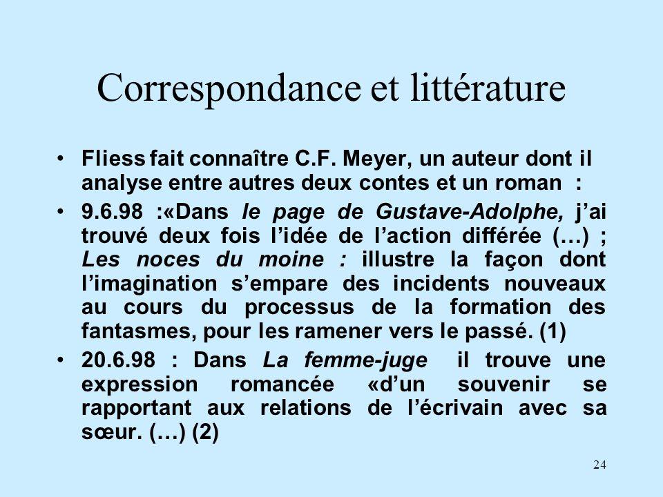 Correspondance et littérature