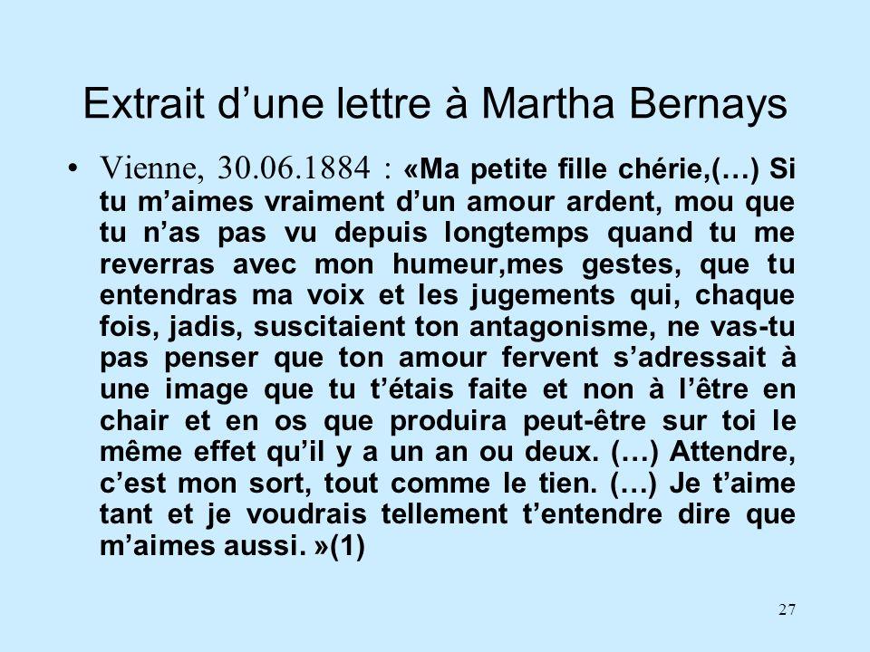 Extrait d'une lettre à Martha Bernays