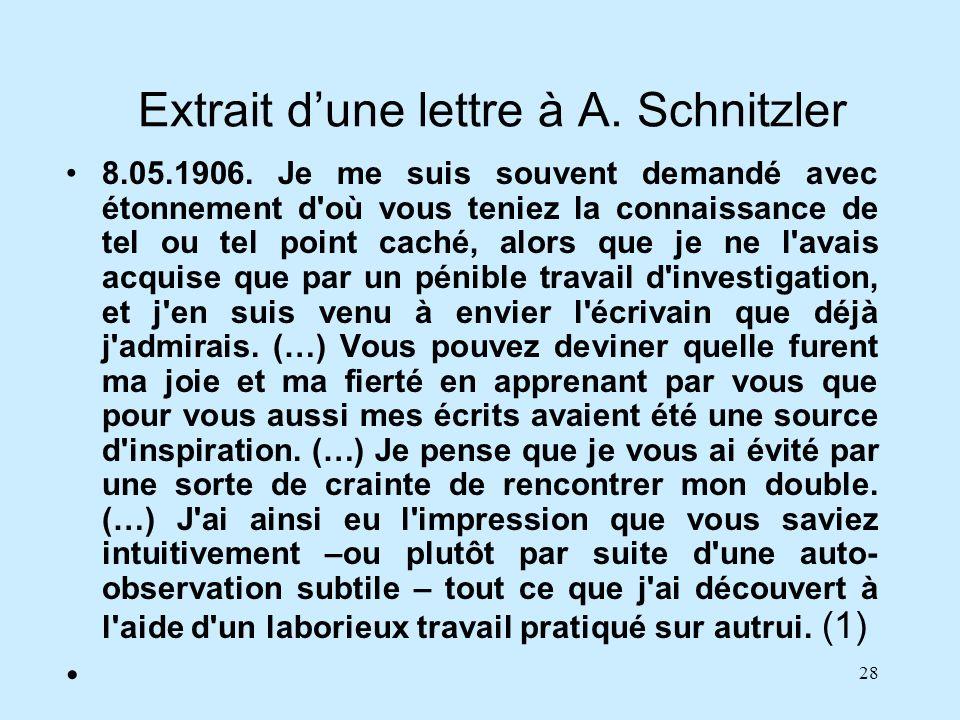 Extrait d'une lettre à A. Schnitzler