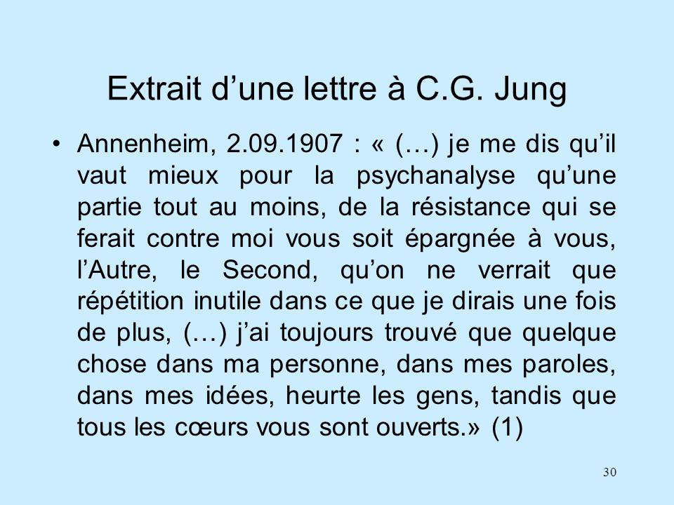 Extrait d'une lettre à C.G. Jung