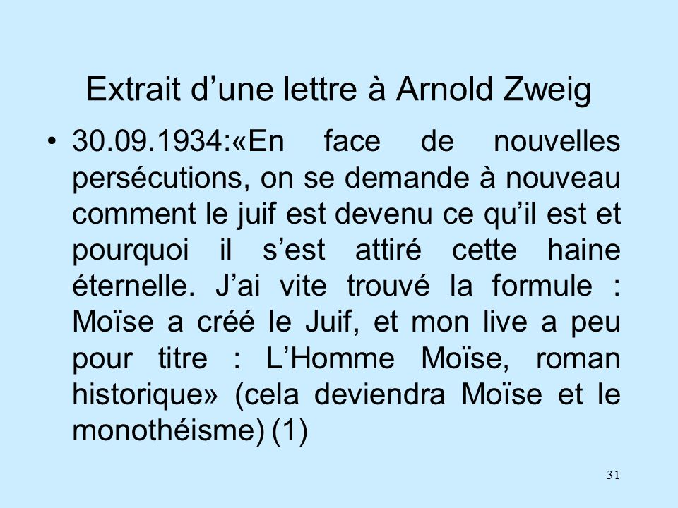 Extrait d'une lettre à Arnold Zweig