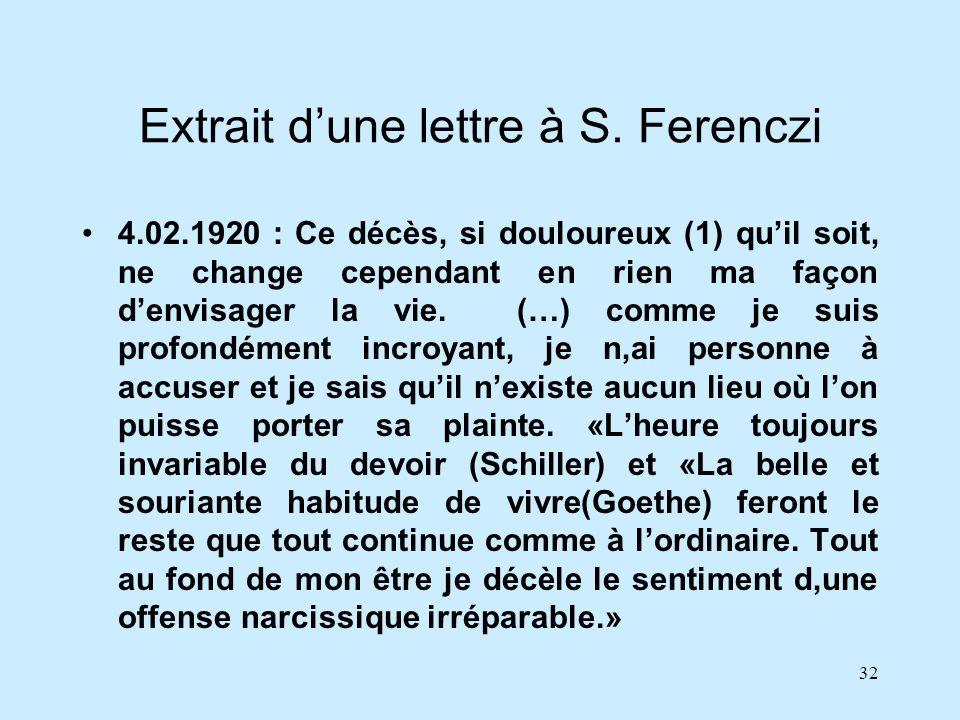 Extrait d'une lettre à S. Ferenczi