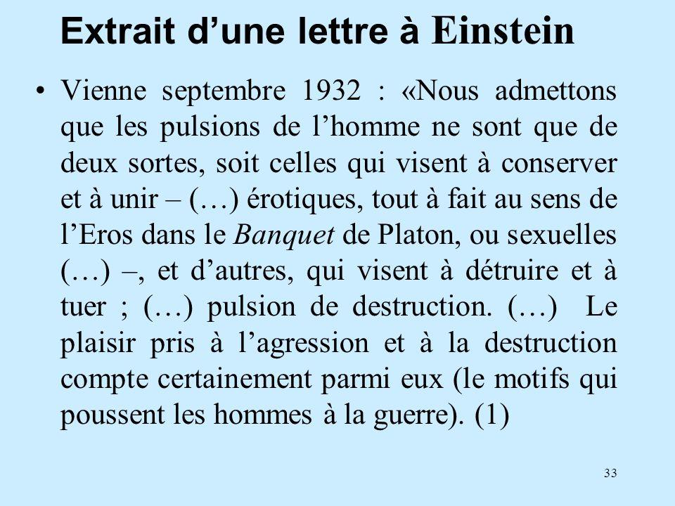 Extrait d'une lettre à Einstein