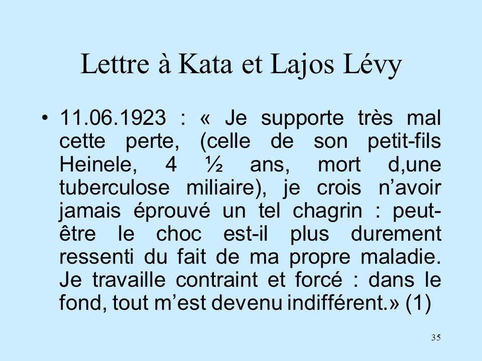 Lettre à Kata et Lajos Lévy
