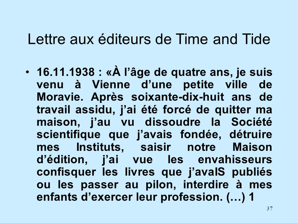 Lettre aux éditeurs de Time and Tide