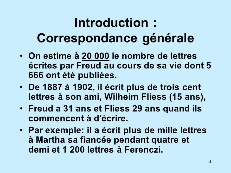 Introduction : Correspondance générale