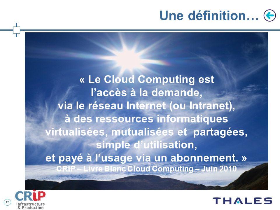 Une définition… « Le Cloud Computing est l'accès à la demande,