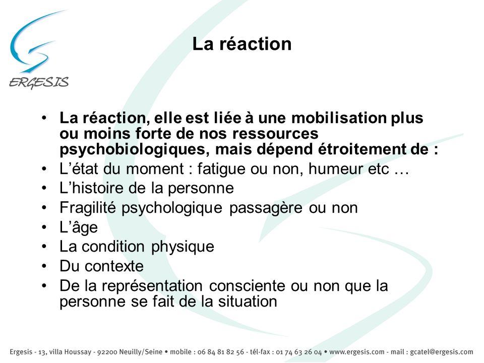 La réactionLa réaction, elle est liée à une mobilisation plus ou moins forte de nos ressources psychobiologiques, mais dépend étroitement de :