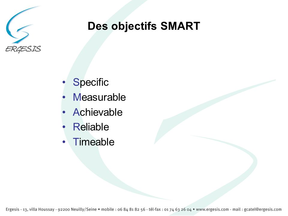 Des objectifs SMART Specific Measurable Achievable Reliable Timeable