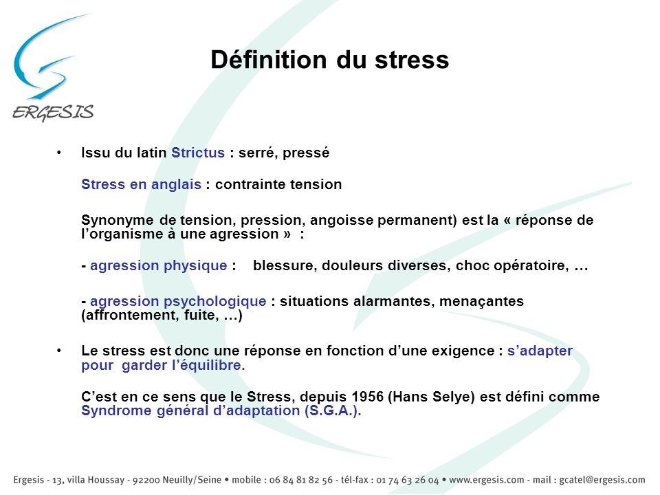 Définition du stress Issu du latin Strictus : serré, pressé
