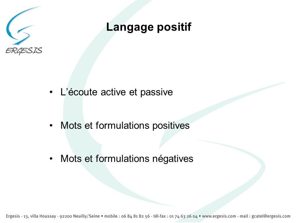 Langage positif L'écoute active et passive