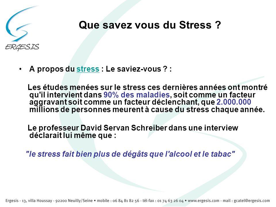 Que savez vous du Stress