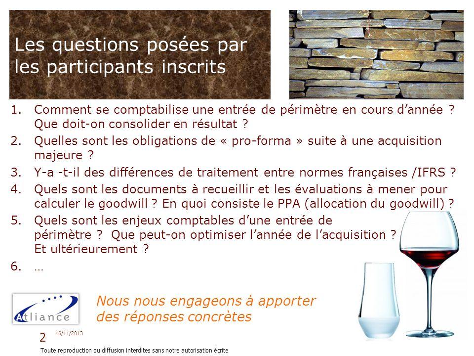 Les questions posées par les participants inscrits