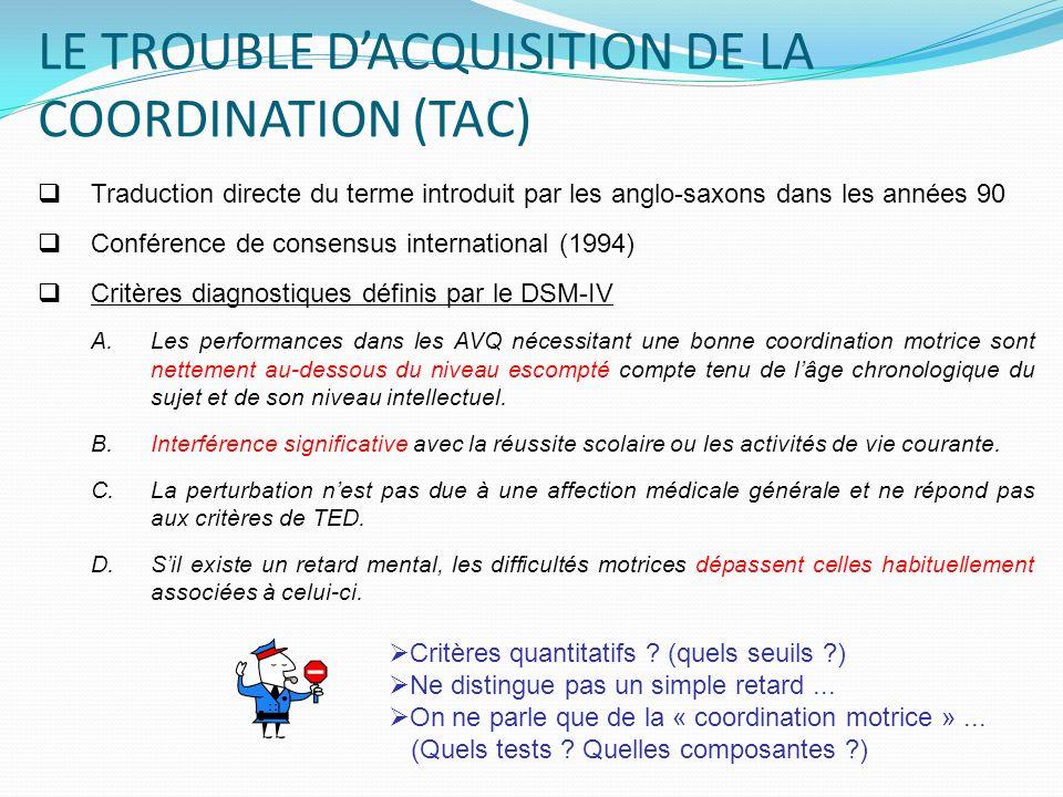LE TROUBLE D'ACQUISITION DE LA COORDINATION (TAC)