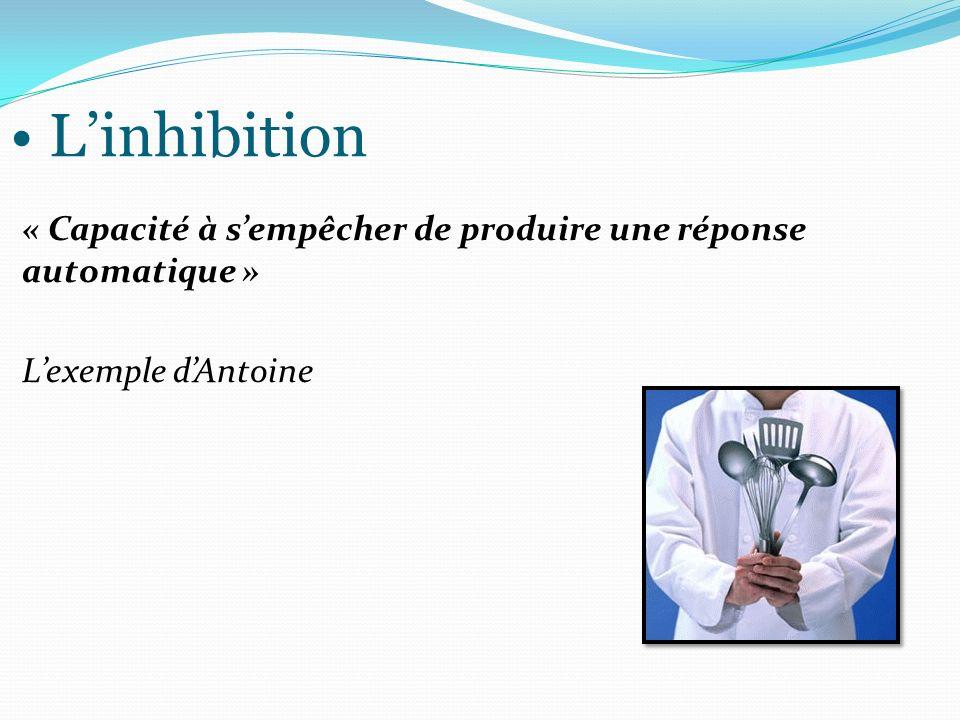 L'inhibition « Capacité à s'empêcher de produire une réponse automatique » L'exemple d'Antoine