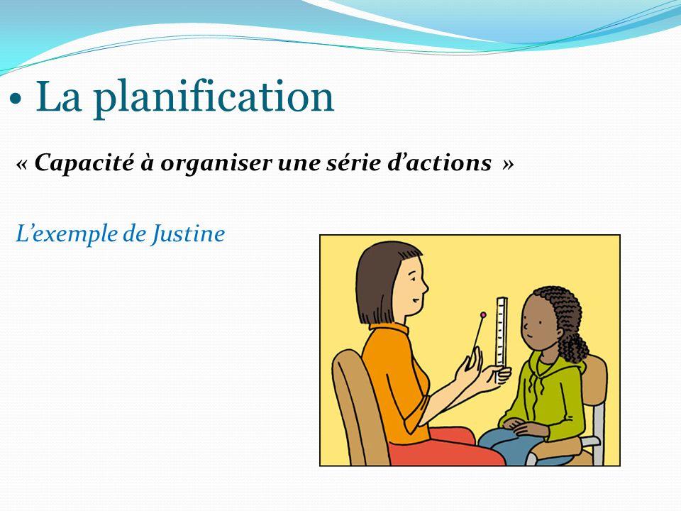 La planification « Capacité à organiser une série d'actions » L'exemple de Justine