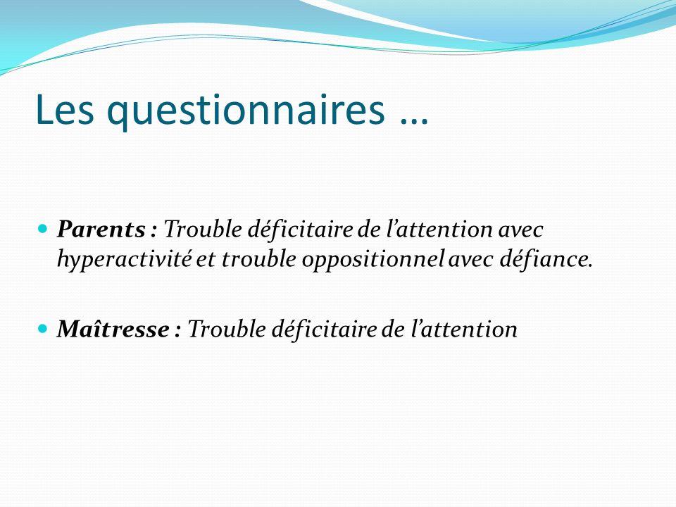 Les questionnaires …Parents : Trouble déficitaire de l'attention avec hyperactivité et trouble oppositionnel avec défiance.