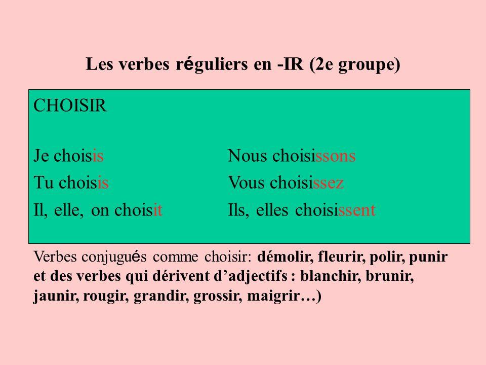 Les verbes réguliers en -IR (2e groupe)