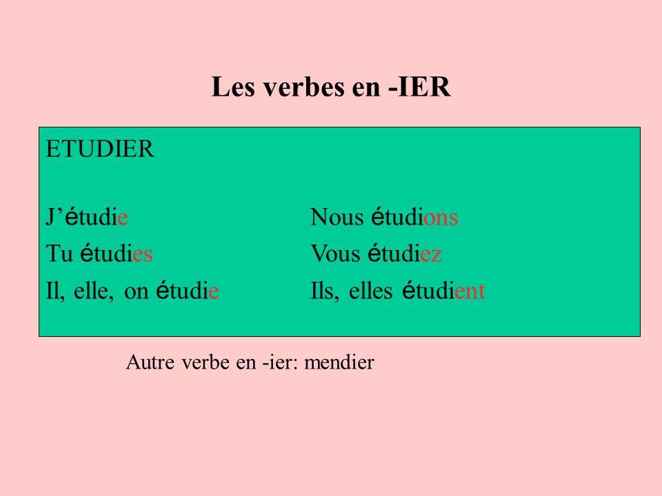 Les verbes en -IER ETUDIER J'étudie Nous étudions